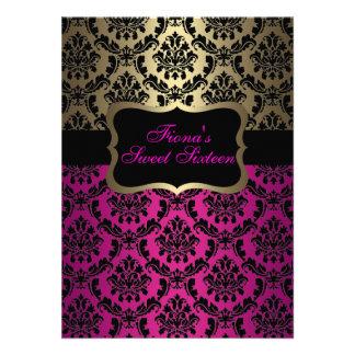 Pink Gold Elegant Damask Birthday Invite