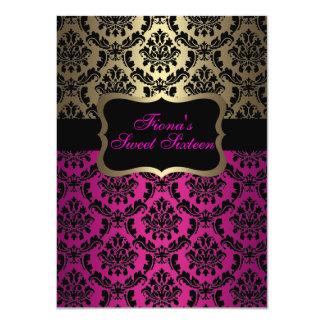 "Pink & Gold Elegant Damask Birthday Invite 4.5"" X 6.25"" Invitation Card"