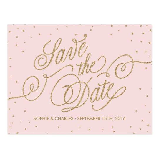 Pink & Gold Elegant Stars Save the Date