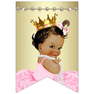 Pink Gold Ethnic Ballerina Tutu Pearls Baby Shower Bunting