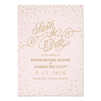 Pink & Gold Fancy Stars Save the Date Card