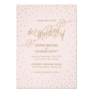 Pink & Gold Fancy Stars Wedding Invitation
