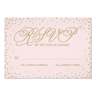 Pink & Gold Fancy Stars Wedding RSVP Card 9 Cm X 13 Cm Invitation Card