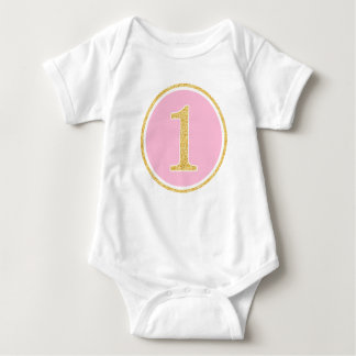 Pink Gold Faux Glitter Circle 1st Birthday Baby Bodysuit