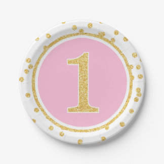 Pink Gold Faux Glitter Confetti 1st Birthday 7 Inch Paper Plate