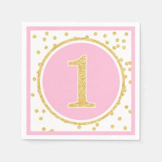 Pink Gold Faux Glitter Confetti 1st Birthday Disposable Serviette