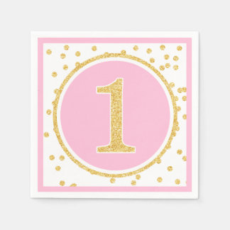 Pink Gold Faux Glitter Confetti 1st Birthday Disposable Serviettes