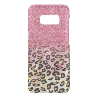 Pink gold faux glitter leopard animal print uncommon samsung galaxy s8 case