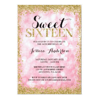 Pink Gold Faux Glitter Lights Sweet 16 Birthday Card