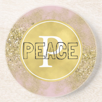 Pink Gold Faux Glitter Peace Monogram Beverage Coaster