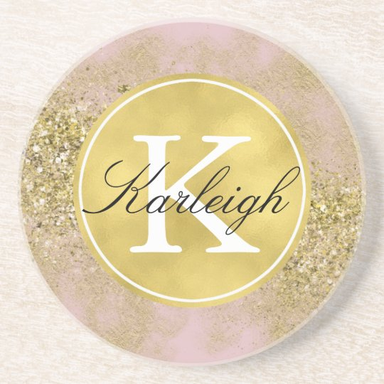 Pink Gold Faux Glitter Personalised Monogram Coaster