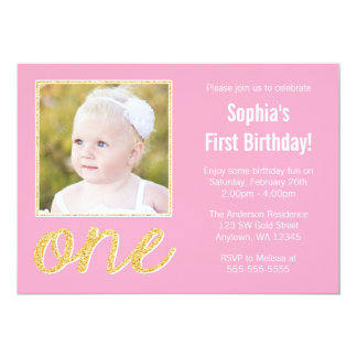 Pink Gold Faux Glitter Photo 1st Birthday 13 Cm X 18 Cm Invitation Card