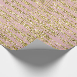 Pink Gold Faux Glitter Stripes Wrapping Paper