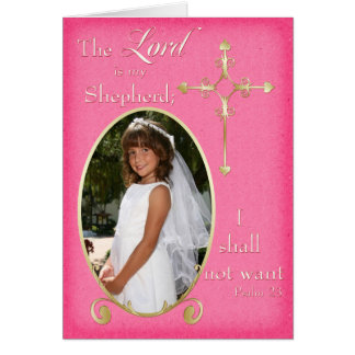Pink Gold First Communion Photo Thank You Card