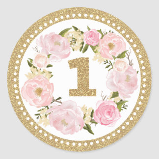 Pink &  Gold Floral 1st Birthday Favor Tag Sticker