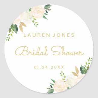 Pink Gold Floral Bridal Shower Sticker