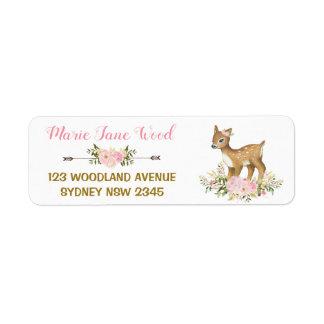 Pink Gold Floral Deer Baby Shower Address Label