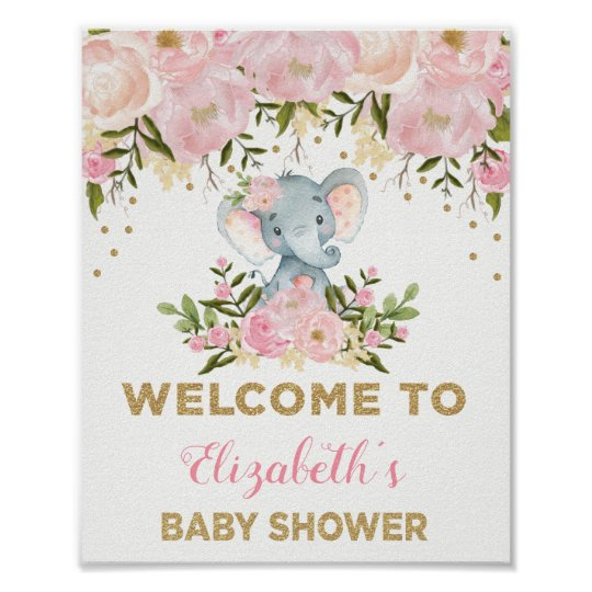 Pink Gold Floral Elephant Baby Shower Welcome Sign