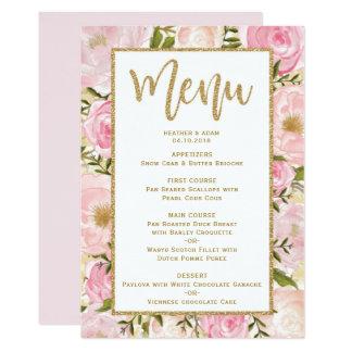 Pink & Gold Floral Wedding Menu Template Card