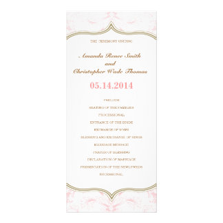 Pink & Gold Floral Wedding Program Custom Rack Card