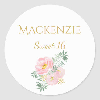 Pink Gold Flowers Sweet 16 Stickers