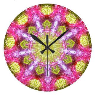 Pink Gold Fractal Large Clock