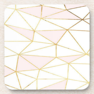 Pink Gold Geometric Coaster