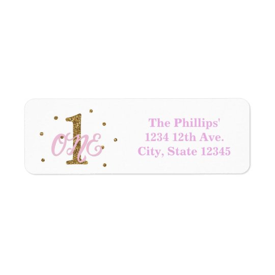 Pink & Gold Girl ONE 1st Birthday Party Invitation Return Address Label