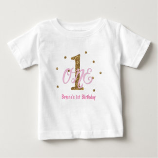 Pink & Gold Girls ONE 1st Birthday Party Custom Baby T-Shirt