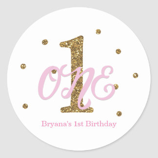 Pink & Gold Girls ONE 1st Birthday Party Favor Classic Round Sticker