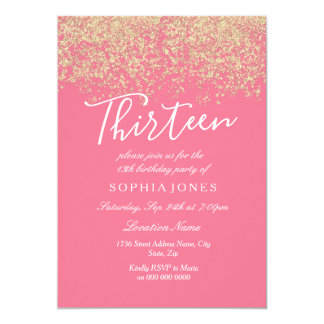 13th birthday invitations announcements zazzle pink gold glitter confetti 13th birthday party card stopboris Image collections