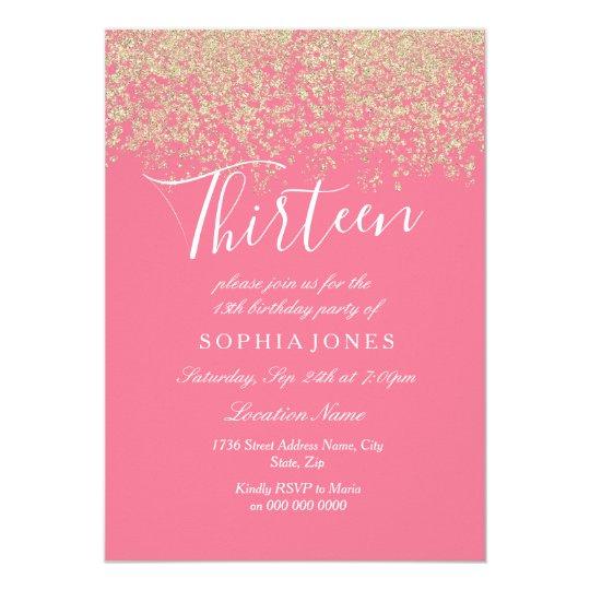 Pink Gold Glitter Confetti 13th Birthday Party Invitation
