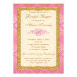 Pink, Gold Glitter Damask Bridal Shower Invitation