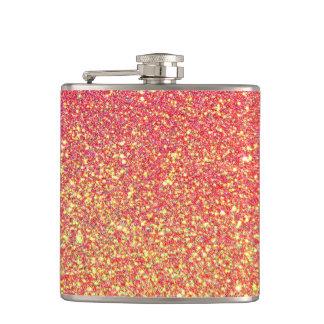Pink Gold Glitter Faux foil Hip Flask