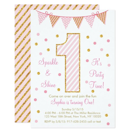 Pink & Gold Glitter First Birthday Card