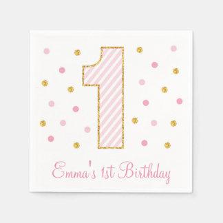 Pink & Gold Glitter First Birthday Disposable Serviette