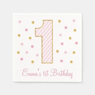 Pink & Gold Glitter First Birthday Napkins Disposable Napkins