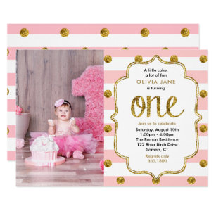 1st birthday invitations zazzle uk pink gold glitter first birthday photo invitation filmwisefo