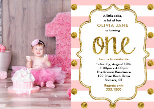 Pink Gold Glitter First Birthday Photo Invitation