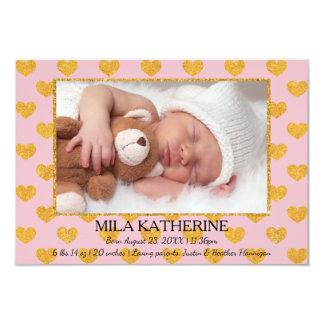 Pink/Gold Glitter Hearts - 3x5 Birth Announcement