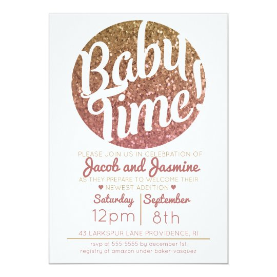Pink Gold Glitter Ombre Baby Shower Girl Invite