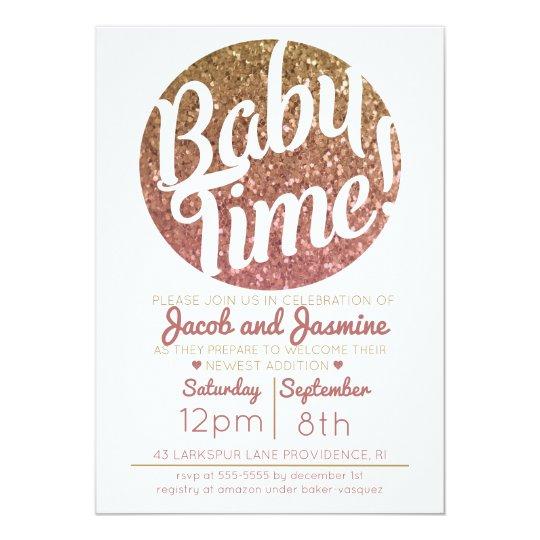 Pink Gold Glitter Ombre Baby Shower Girl Invite