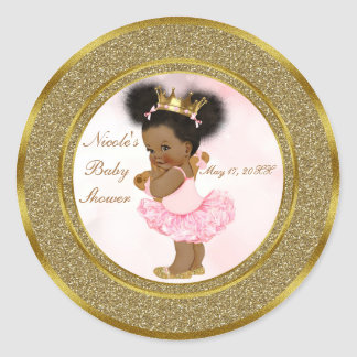 Pink Gold Glitter Princess Vintage Black Baby Girl Classic Round Sticker