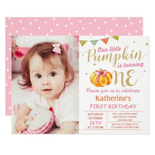 Pink Gold Glitter Pumpkin Baby 1st Birthday Photo