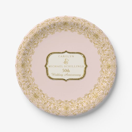 Pink Gold Golden 50th Wedding Anniversary Party Paper