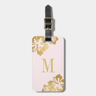 Pink Gold Hibiscus Tropical Flower Pretty Luggage Luggage Tag