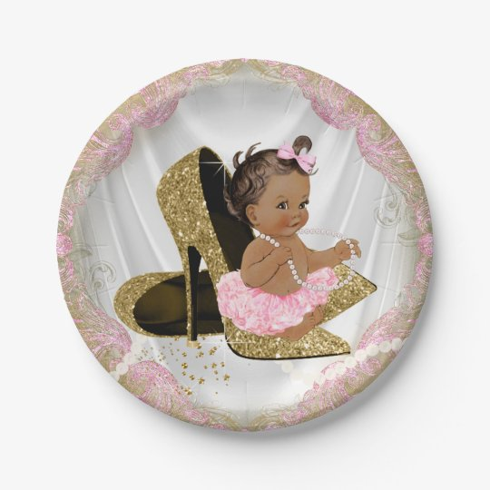 Pink Gold High Heel Ethnic Baby Shower Paper