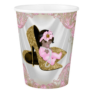 Pink Gold High Heel Shoe Ethnic Baby Girl Shower Paper Cup