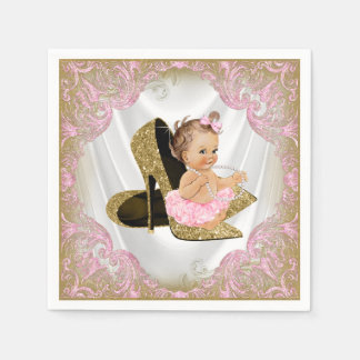 Pink Gold High Heel Shoe Pearl Girl Baby Shower Disposable Serviettes