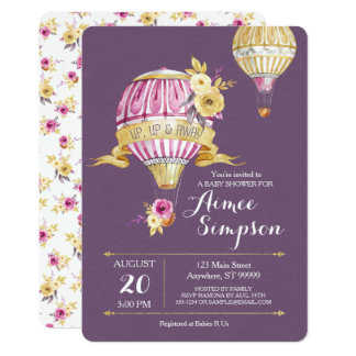 Pink+Gold Hot Air Balloon Baby Shower Invitation